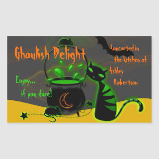 Ghoulish Green Halloween Baking Labels Stickers