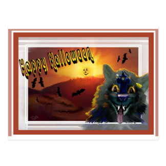 Ghoulish Halloween Cat Invitation Post Card