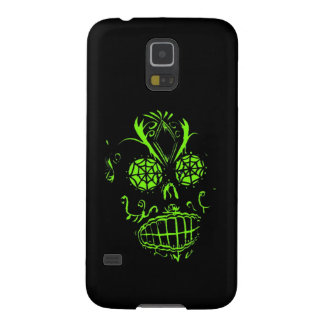 Ghoulish Neon Skull on Black Graphic Design Galaxy S5 Cover