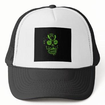 Halloween Themed Ghoulish Neon Skull on Black Graphic Design Trucker Hat
