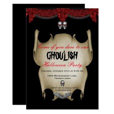 Halloween Themed Ghoulish Silver Skulls Halloween Card