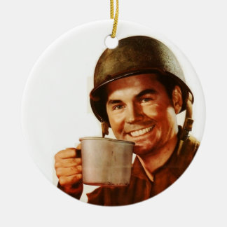 GI Cuppa Joe Double-Sided Ceramic Round Christmas Ornament