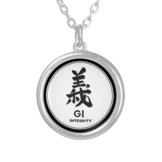 GI integrity bushido virtue samurai kanji Round Pendant Necklace