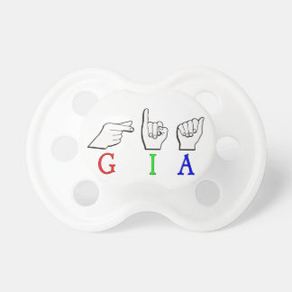 GIA NAME SIGN FINGERSPELLED ASL PACIFIER