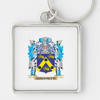 Giacometti Coat of Arms - Family Crest Silver-Colored Square Keychain