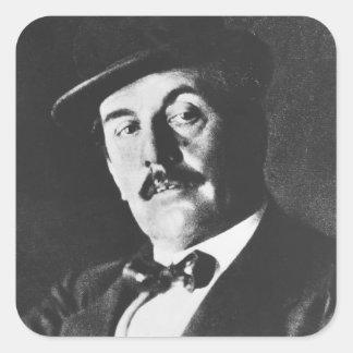 Giacomo Puccini 1858-1924 1924 photolitho b w Pegatina Cuadradas Personalizadas