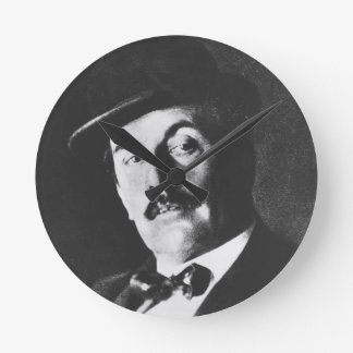 Giacomo Puccini (1858-1924) 1924 (photolitho) (b/w Round Clock