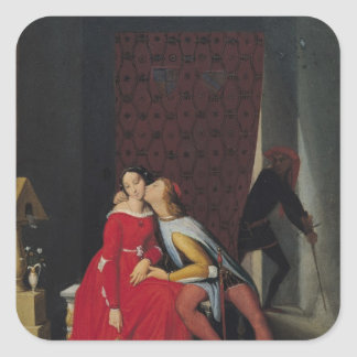 Gianciotto Discovers Paolo and Francesca, 1814 Square Sticker