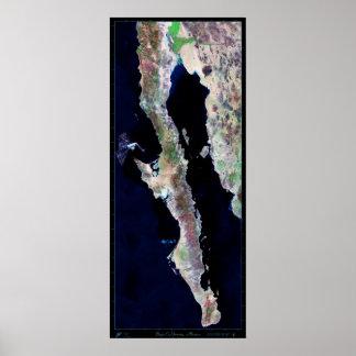 "Giant 29""x68.5 Baja California satellite poster"