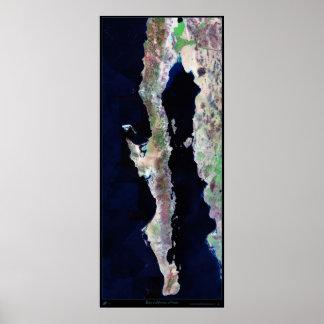 "Giant 41""x96"" Baja California satellite poster"