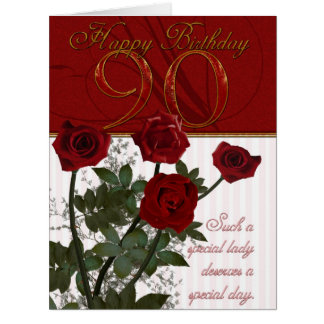 Giant 90th Birthday Card With Roses