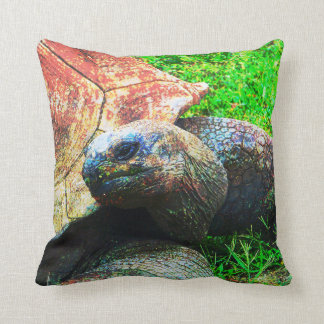 Giant Aldabra Tortoise Grunge, Kansas City Zoo Throw Pillow