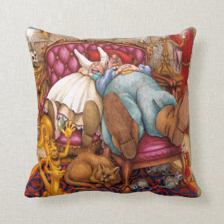 Giant and wife sleeping, unusual perspective throw pillow