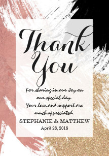 0add1b1c53e8 Giant Artsy Brushstrokes in Gold Rose Gold Glitter Thank You Card