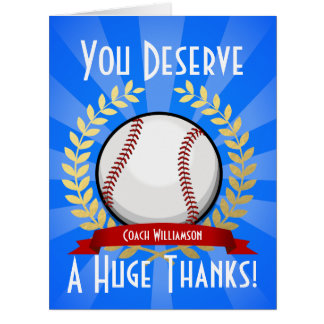 Giant Baseball Coach Thank You Card