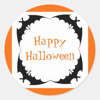 Giant Bats Happy Halloween Classic Round Sticker