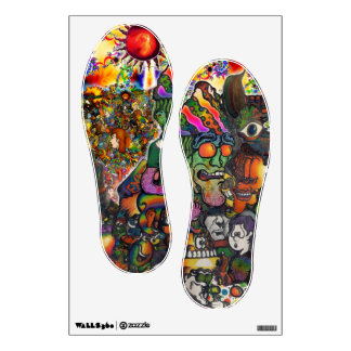 Giant bbqshoes wall decal psychedelic shoe prints