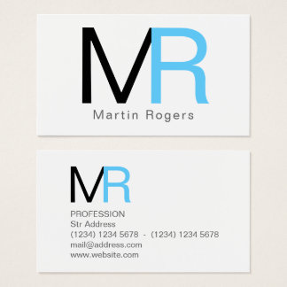 Giant big initials letters cover business card