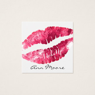 Giant big kiss lips classy shine cover square business card