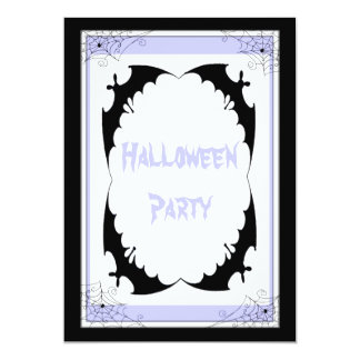 Giant Black Bats & Cobwebs Halloween Party Card