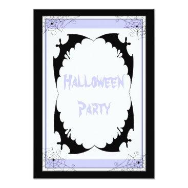 Halloween Themed Giant Black Bats & Cobwebs Halloween Party Card