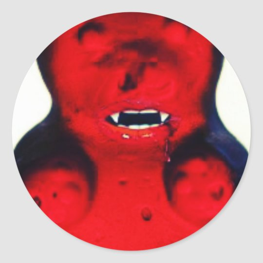 Giant Blood Sucking Candy Bear Classic Round Sticker