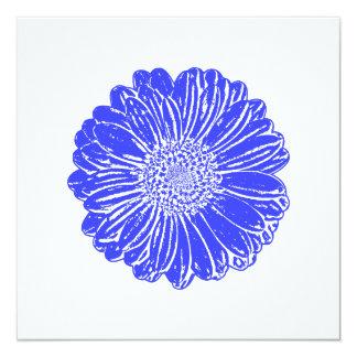 Giant Blue Gerbera Daisy 5.25x5.25 Square Paper Invitation Card