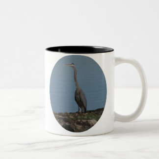 Giant Blue Heron Two-Tone Coffee Mug