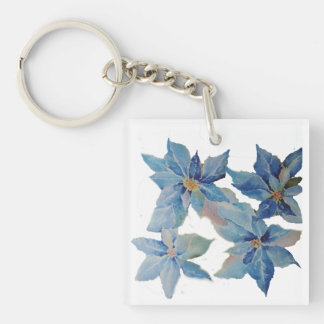 Giant Blue Poinsettias Keychain