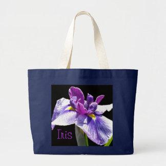 Giant Blue Purple Iris Large Tote Bag