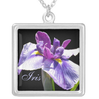 Giant Blue Purple Iris Silver Plated Necklace