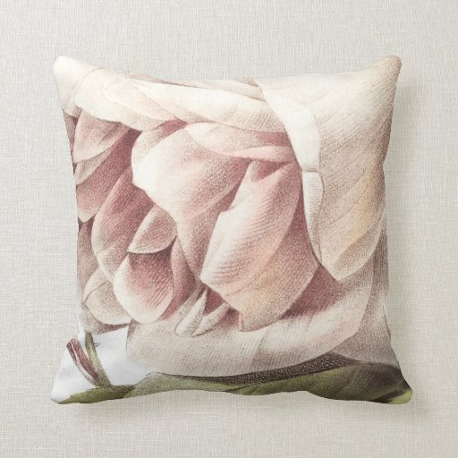 Giant Blush Rose Decorative Floral Throw Pillow