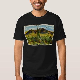 Giant Cactus in Desert - Vintage Postcard T-shirts