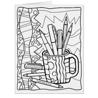 GIANT CARD You COLOR - A CUP FULL OF COLORING ART