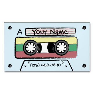 Giant Cartoon Hand Drawn Cassette Tape (Blue) Magnetic Business Card