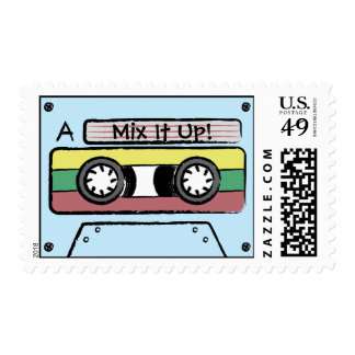 Giant Cartoon Hand Drawn Cassette Tape (Blue) Postage Stamp