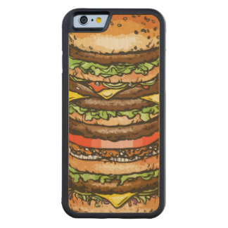 Giant Cheeseburger Carved Maple iPhone 6 Bumper Case