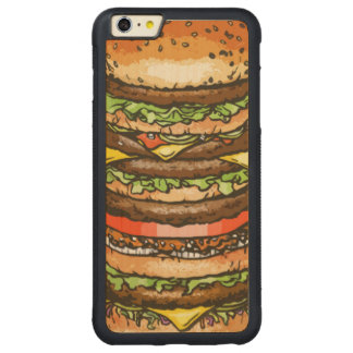 Giant Cheeseburger Carved Maple iPhone 6 Plus Bumper Case