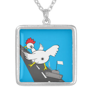 Giant Chicken! Silver Plated Necklace