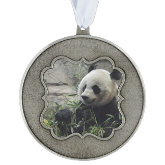 Giant Chinese Panda Bear Scalloped Pewter Christmas Ornament