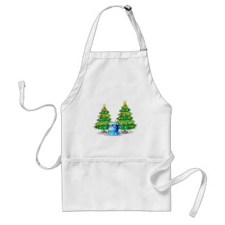 Giant christmas trees at the back of the blue mons adult apron