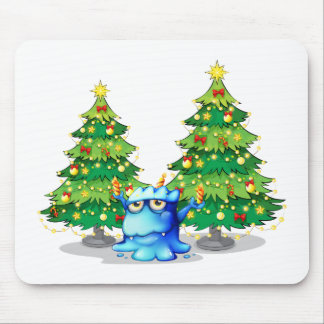 Giant christmas trees at the back of the blue mons mouse pad