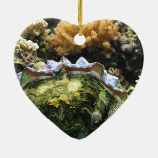 Giant Clam Double-Sided Heart Ceramic Christmas Ornament
