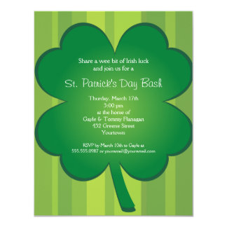 Giant Clover St Patricks Day Party Invitation