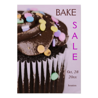 Giant cupcake muffin bake sale poster