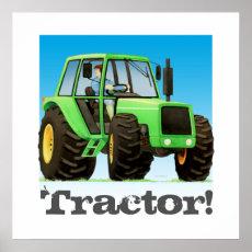 Giant Custom Kids Green Farm Tractor Poster