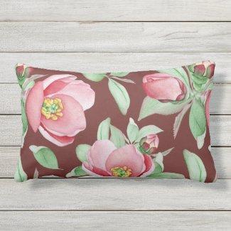 Giant Dog Roses on Claret Lumbar Pillow