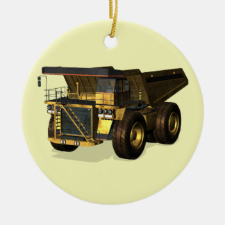Giant Dump Truck Double-Sided Ceramic Round Christmas Ornament