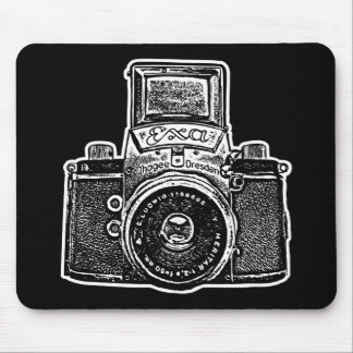 Giant East German Camera - Black and White Mouse Pad