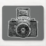 Giant East German Camera - Black, White and Gray Mousepads